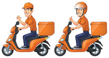 Courier Boy Rides Scooter,vector EPS 10