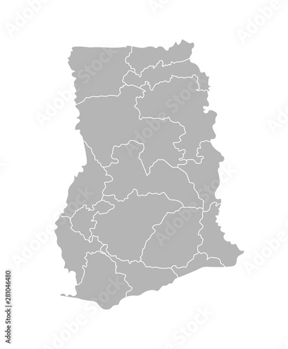 Tela  Vector isolated illustration of simplified administrative map of Ghana