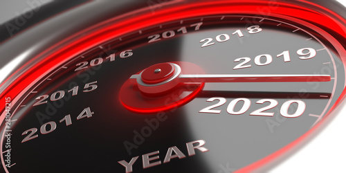New year 2020 change, car gauge indicator between 2020 and 2019 Canvas Print