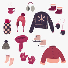 Winter Clothes Vector Cartoon Set. Cute Outerwear Simple Flat Illustration Isolated On Background.