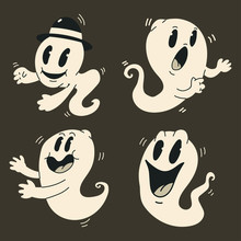 Cute Cartoon Ghosts Vector Set. Halloween Funny Vintage Character Monster Isolated On Background.