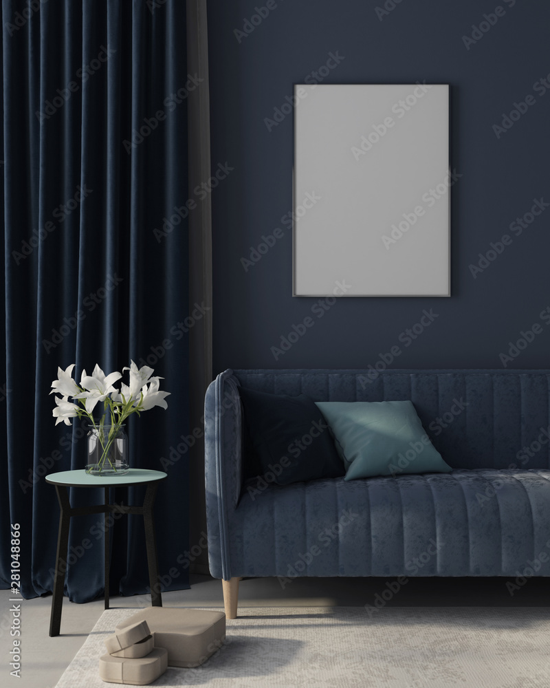 Fototapeta Mock up Interior of the living room in monochrome blue with poster. 3d render