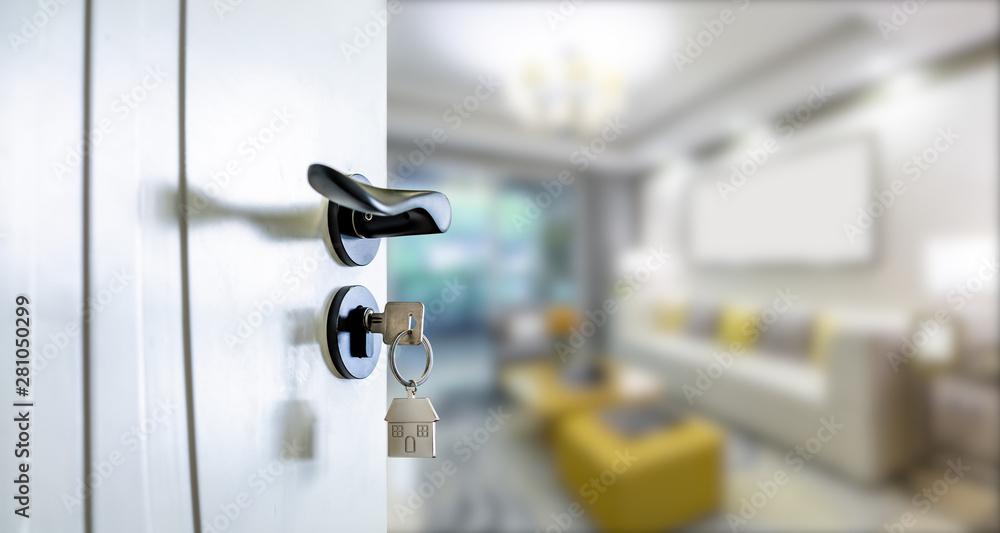 Fototapety, obrazy: Open door with keys, key in keyhole