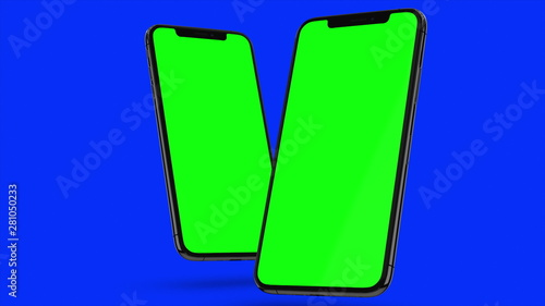 Two Black smartphone turns on on blue background. Easy customizable green screen. Computer generated image.