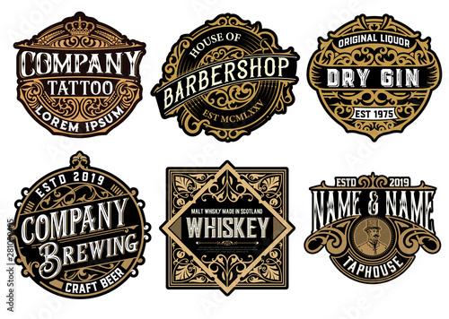 Pinturas sobre lienzo  Set of 6 badges and logos