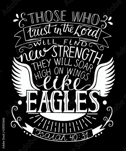 Photo  Hand lettering with bible verse Trust in the Lord will find new strength