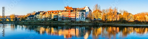 Beautiful towns of Germany - scenic Regensburg over Danube river Canvas Print
