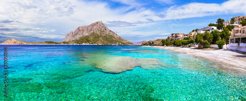 Amazing Greece - Kalymnos island, beautiful Mirties beach and view of Telendos