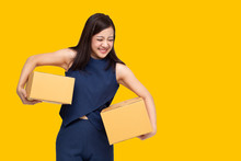 Young Asian Entrepreneur Holding Parcel Isolated On Yellow Background, Teenager Business Owner Online Preparing To Shipment Delivery