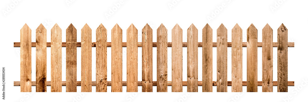 Fototapeta Brown wooden fence isolated on a white background that separates the objects. There are Clipping Paths for the designs and decoration