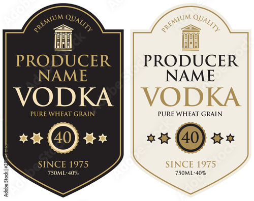 Fototapety, obrazy: Set of two vector labels for vodka in the figured frame with old building and inscriptions in retro style. Premium quality, pure wheat grain