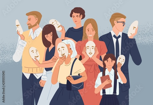Obraz Group of people covering their faces with masks expressing positive emotions. Concept of hiding personality or individuality, psychological problem. Flat cartoon colorful vector illustration. - fototapety do salonu