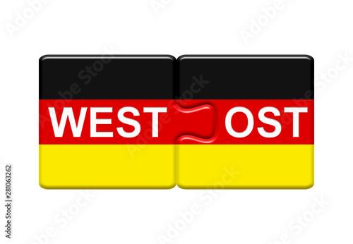 Cuadros en Lienzo  2 Puzzle Buttons zeigen Westdeutschland und Ostdeutschland zusammen
