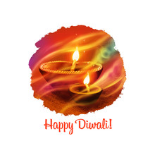 Happy Diwali Digital Art Illustration Isolated On White Background. Indian Festival Of Lights. Deepavali Hand Drawn Graphic Clip Art Drawing For Web, Print. Decorative Oil Lamp With Bright Flame.