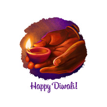 Happy Diwali Digital Art Illus...
