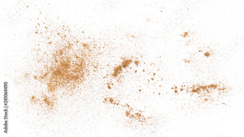 Foto Cinnamon powder isolated on white background, top view