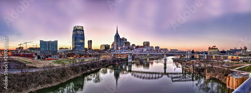 Nashville, Tennessee, USA downtown skyline on the Cumberland River Wallpaper Mural