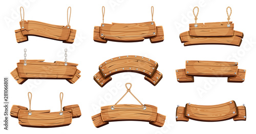 Obraz Wooden banners. Blank signboards with chains ropes and bolts vector tablet banners. Wood blank banner hanging, empty signboard illustration - fototapety do salonu