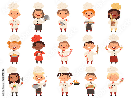 Fototapeta Cooking childrens. Little funny laugh kids making food profession chef vector boys and girls. Girl and boy funny cook delicious food illustration obraz