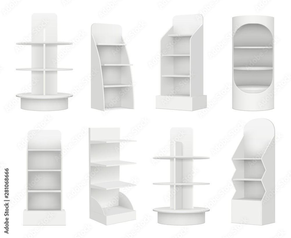 Fototapeta Empty retail shelves. Bookstore supermarket stand for promotion merchandising marketing vector realistic mockup. Shop and store shelf or stand for product illustration