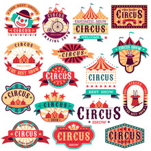 Circus Labels. Vintage Carnival Show, Circus Signboard. Entertaining Event Festival. Paper Invitation Banner, Arrow Vector Stickers