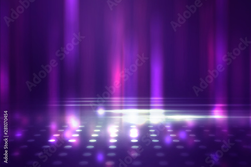 Empty background scene. Ultraviolet light, bokeh, blurred rays. Rays of neon light in the dark, neon figures, smoke. Background of empty stage show. Abstract dark background. - 281070454