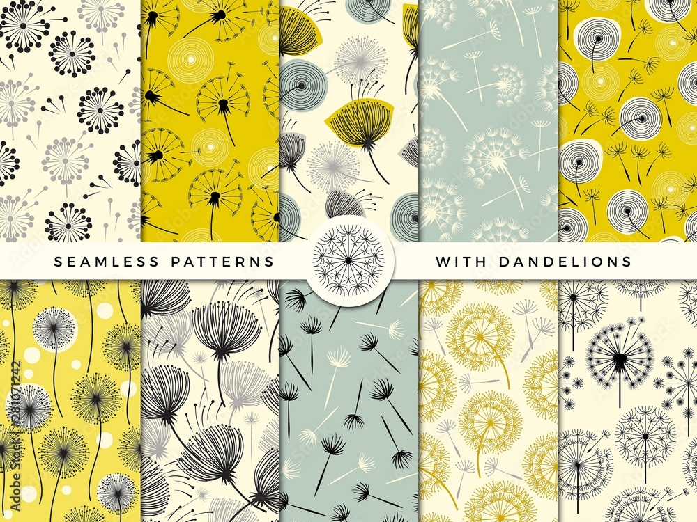 Fototapety, obrazy: Dandelion seamless. Wind flowers nature herbal decorate vector collection for print design project. Dandelion flower pattern, nature endless bloom illustration