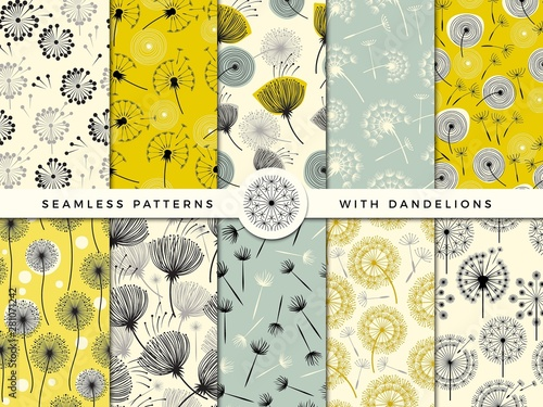 Poster Artificiel Dandelion seamless. Wind flowers nature herbal decorate vector collection for print design project. Dandelion flower pattern, nature endless bloom illustration