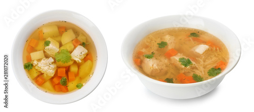 Poster Légumes frais Fresh vegetable detox soup with croutons in dish on white background
