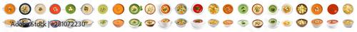 Fototapeta Fresh vegetable detox soup with croutons in dish on white background obraz
