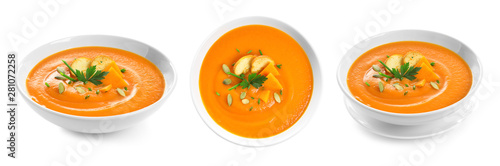 Fotografie, Obraz Fresh vegetable detox soup with croutons in dish on white background