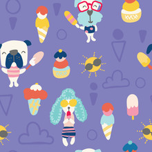 Seamless Pattern For Summer. Illustration Of Cute Dogs And Ice Creams On Sunny Day.