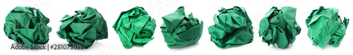 Papel de parede Set with green paper balls on white background. Banner design
