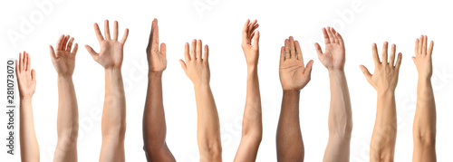 Fotografía African-American man extending hand for shake on white background, closeup