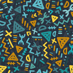 Fun and minimal tribal seamless pattern, colorul folk background with hand drawn shapes - Great for folk modern wallpaper, backgrounds, invitations, packaging design projects. Surface vector design