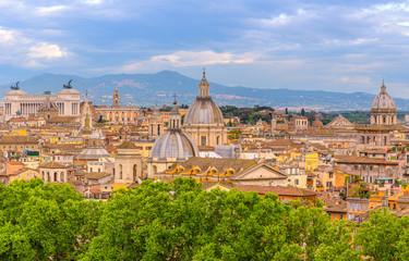Fototapeta na wymiar Amazing landscape with Rome, Italy with sunset light.
