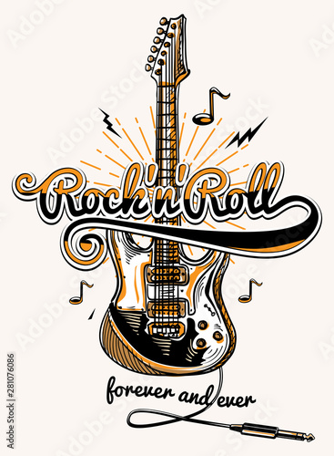 Rock and roll guitar music design Fototapet