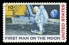 UNITED STATES - CIRCA 1969: A Stamp Printed In USA Shows Neil Armstrong, First Step On The Moon, Circa 1969.