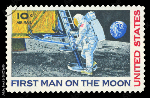 Photo UNITED STATES - CIRCA 1969: A stamp printed in USA shows Neil Armstrong, first step on the moon, circa 1969