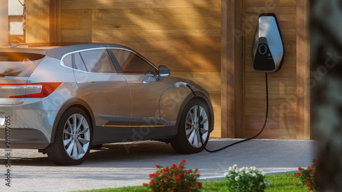 electric car parked in front of home modern low energy suburban house 3d rendering - 281077055