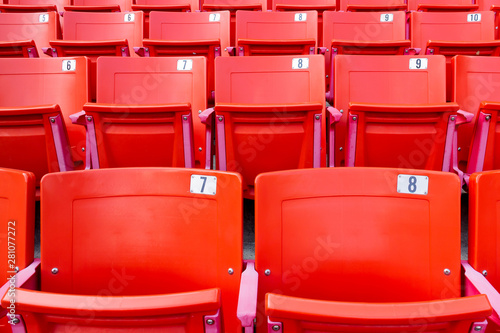 Peachy Row Of Red Folding Chairs In A Stadium Sport Concept Buy Ncnpc Chair Design For Home Ncnpcorg