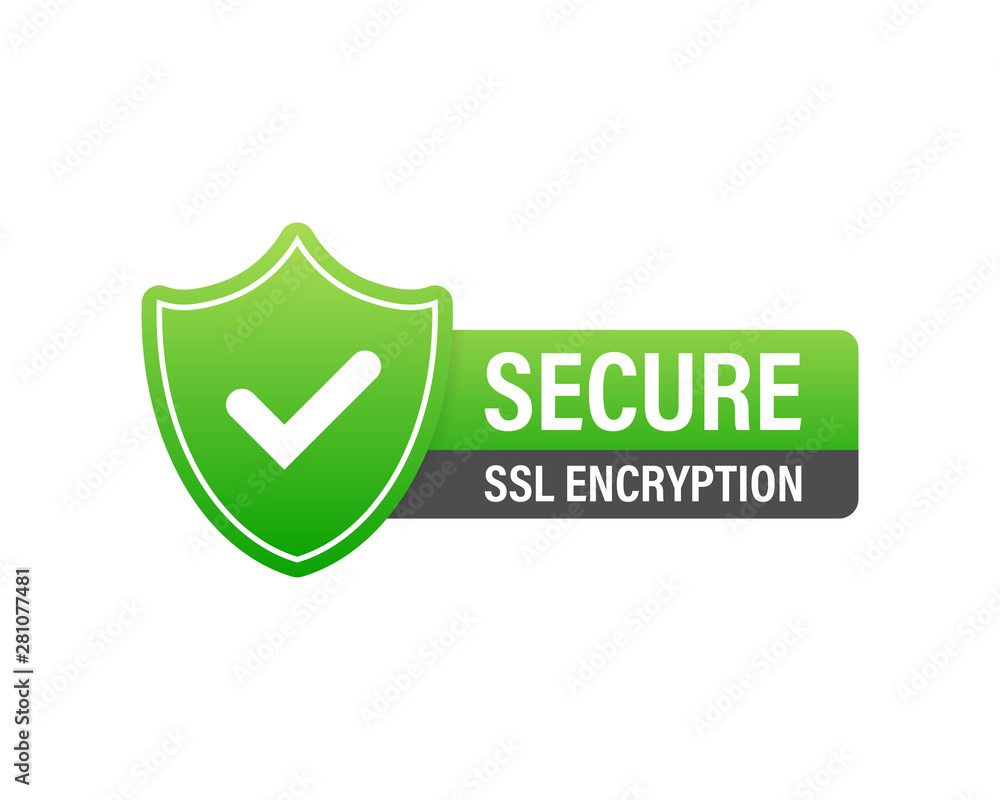 Fototapeta Secure connection icon vector illustration isolated on white background, flat style secured ssl shield symbols, protected safe data encryption technology, https certificate privacy sign