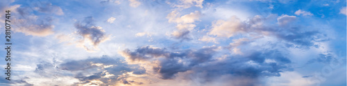 Fototapeta Dramatic panorama sky with cloud on sunrise and sunset time. Panoramic image. obraz