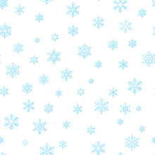 Merry Christmas Holiday Decoration Effect Background. Blue Snowflake Seamless Pattern Template. EPS 10