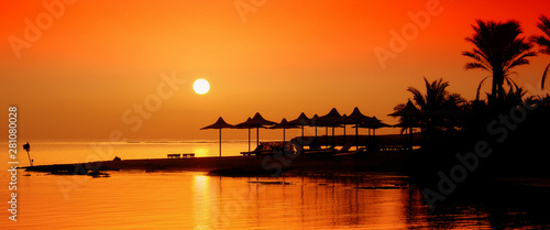A beautiful sunrise in Marsa Alam, Egypt. Africa - 281080028