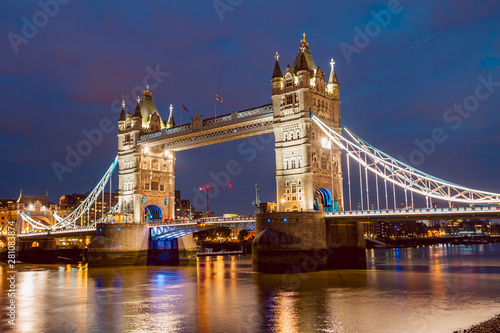Illuminated Tower Bridge right after the sunset Wallpaper Mural