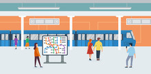 Metro Flat Vector Illustration. Passengers In Subway Cartoon Characters. Rapid Transit. Modern City Public Transport, Underground Train. People Watching Metro Mapping And Waiting For Subway Car