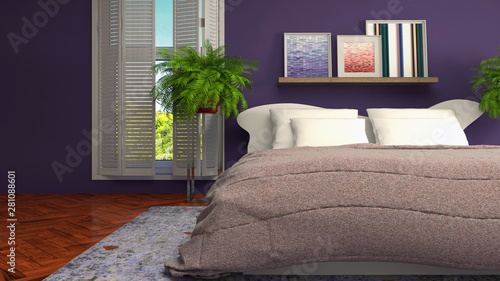 Photo sur Toile Pierre, Sable Bedroom interior. Bed. 3d illustration