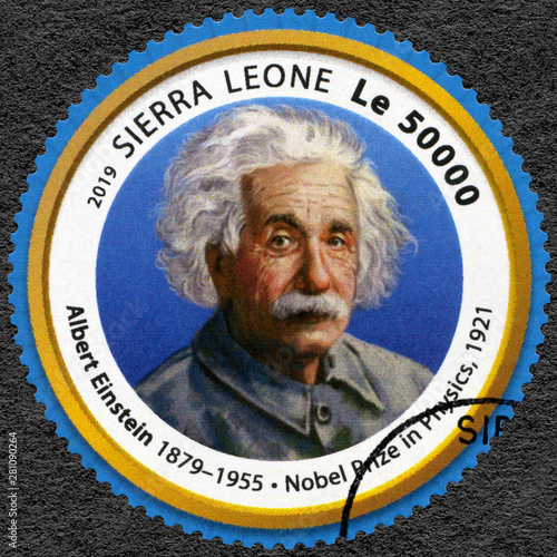 Pinturas sobre lienzo  SIERRA LEONE - 2019: shows Albert Einstein (1879-1955), physicist, series Nobel