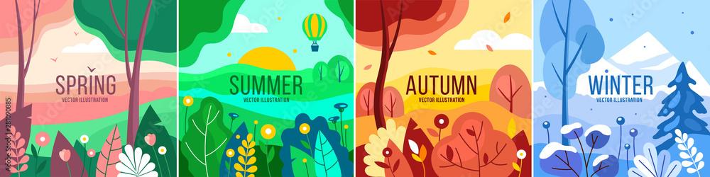 Fototapeta Vector set of seasons illustrations. Spring, summer, autumn, winter - landscapes in a flat style.